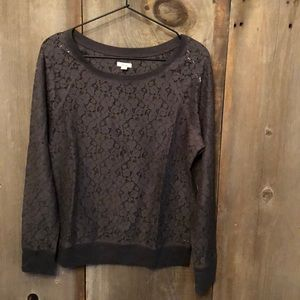 Aerie Gray Floral Lace Long Sleeve Top Medium